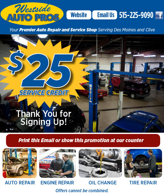 20 dollars off any service or repair including oil changes, valid for the first 19 people to call